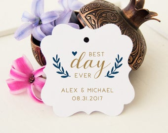 Custom Wedding Favor Tags, Best Day Ever Favor Tags, Wedding Bag Thank You Tags, Personalized Thank You Favor Tags, 24 Wedding Gift Tags