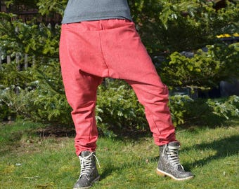 Harem pants Wolltweed unique red mix