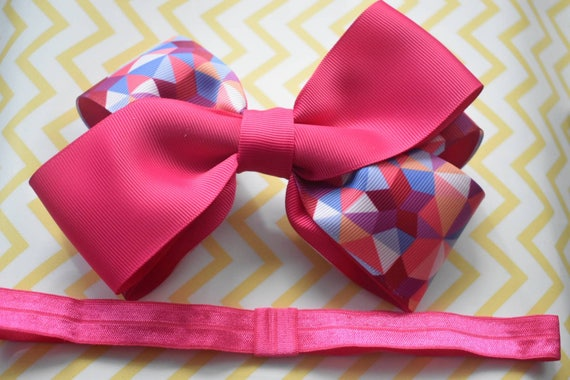 Pink oversized Bow - Baby / Toddler / Girls / Kids Headband / Hairband / Hair bow / Barette