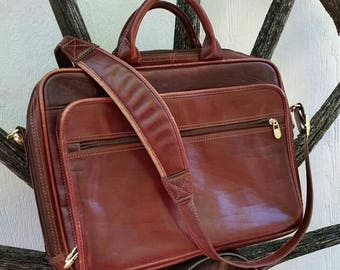 Bergundy Leather Briefcase Lap Top Bag Messenger Bag Vintage 80s Mens Brown Leather Lap Top Case