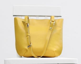 Yellow leather bag, dedicated to all the young and youth women with no age limits, perfect for everyday; Gift for her
