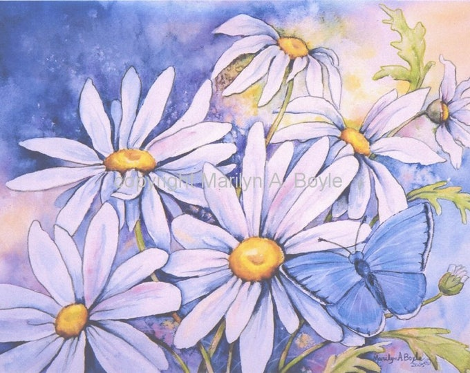 WATERCOLOR FLOWER PRINT; blue butterfly, daisies, 7.5 x 10 inches, wall art, hand enhanced, garden,