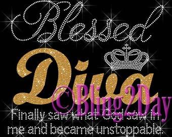 Blessed DIVA - Custom Glitter Vinyl - Iron on Vinyl/Rhinestone Transfer Bling Hot Fix Crown - DIY