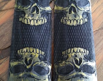 1911 Grips Double Skulls checkered Green Dyed Maple Kimber, Rock Island