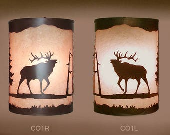Pair of 2 Rustic Light Elk Wall Sconce  Lamp, Cabin Decor Lamp Left & Right Facing