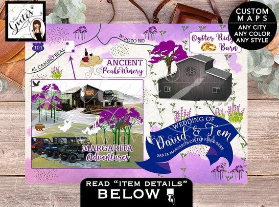 Santa Margarita Oyster Ridge Barn California Wedding Map - Ombre purple lavender, CUSTOM, PERSONALIZED weekend maps, 7x5, ANY city & theme.
