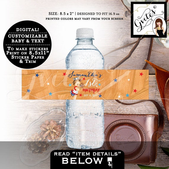 "Water Bottle Label First Birthday 4th of July, patriotic, rose gold red white & blue, stickers, tags, labels. PRINTABLE 8.5x2""/3 Per Sheet."