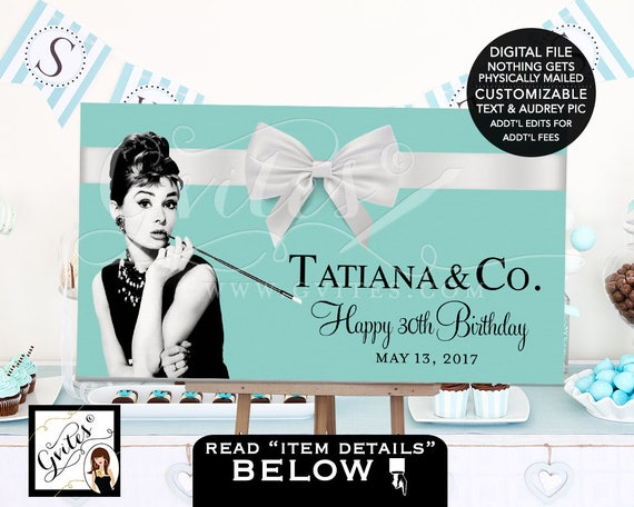 Breakfast at backdrops, sweet 16, Audrey Hepburn happy birthday Table Banner poster signs, backdrops, banner sign party. PRINTABLE