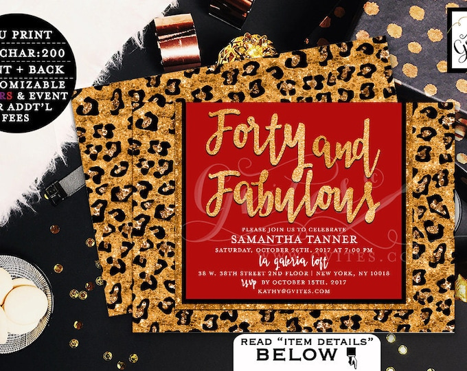 Forty and Fabulous Invitation, 40th Birthday Party, Red and Gold, Animal Print, Fashion Designer, Elegant Woman Birthday Invites, Digital.