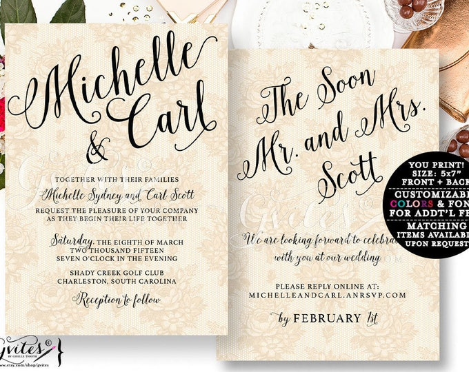 Gold Lace wedding invitations, pearl cream wedding, black and gold beige invites, vintage printable template, rustic lace.