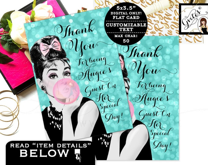 """Sweet 16 thank you cards, breakfast at themed, Audrey Hepburn printable party note cards. Customizable text. Digital. {3.5x5"""" 4 Per/Sheet}"""