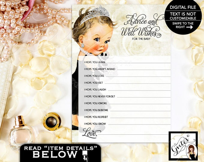 "Advice For Baby, wishes for baby girl, Baby Shower, printable vintage, template, baby princess baby girl, 5x7"" 2 Per/Sheet"