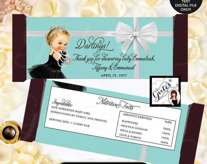 """Breakfast at candy favors, stickers, hershey bar chocolate candy wrappers, labels, decorations, baby shower. {2 Per/Sheet 5.25 x 5.75""""}"""