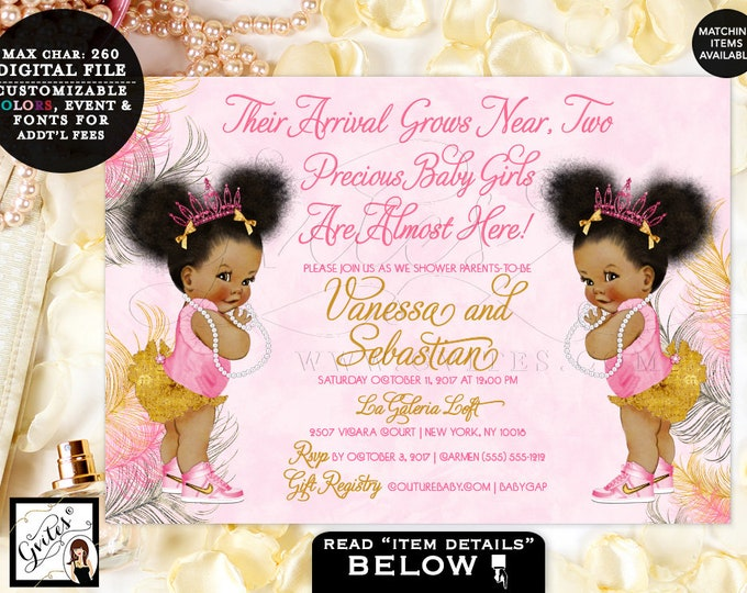 Pink Gold & Silver baby shower invitation, TWINS tiaras tutus diamonds pearls vintage invites, afro puffs, DIGITAL 7x5.