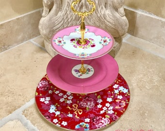 """3 tiered Cake Stand, """"Pink Flowers and Bows Tier"""" for cupcakes, sweets, savories, Tid bits, centerpiece, decor, wedding, bridal, etc."""