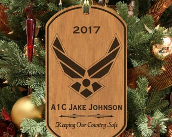 Keeping Us Safe, AIR FORCE Christmas Ornament, Engraved FREE with Name & Rank!