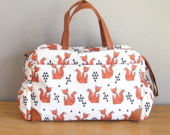 FOX DIAPER BAG, Nappy bag, big diaper bag, weekender, sleepover bag, baby bag, changing bag