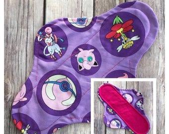 "SUMMER SALE 10"" Flannel Purple Pokemon Cloth Panty Liner ~ Mama Cloth"