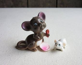 Miniature Vintage Plastic Mouse Figurines, Mice, Hong Kong, Brown, White, Mouse Lovers Gift,Miniature Animals,Funny,Cute,Humorous Mouse Toys