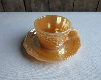 Vintage Peach Lusterware Anchor Hocking Demitasse,Fish Scale Pattern,Peach Luster Ware Tea Cup, Saucer,Anchor Hocking Fish Scale Teacup,Dish