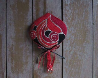 Handmade Vintage Needlepoint Ornament,Red Wall Hanging,Asian Decor,Door Ornament,Red Lover Gift,Handmade Ornament,Needlepoint,Christmas Tree
