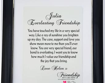 Personalised  Framed Friendship Poem - Everlasting Friendship