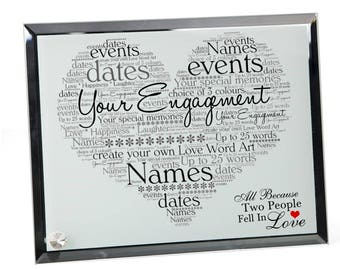 Your Engagement Personalised Word Art Glass Plaque