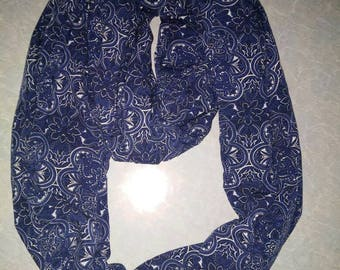 Navy Blue Floral Infinity Scarf