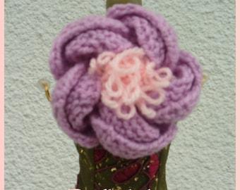 Knit pink peony flower brooch, knit jewelry, knit accessory, knitted peony flower, knitted jewelry, knitted accessory,