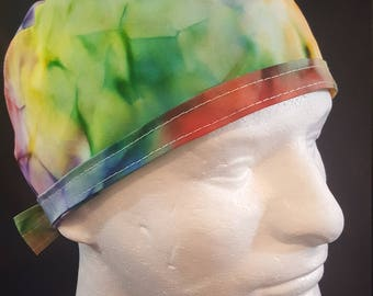 Tie Dye Colors Tie Back Surgical Scrub Hat