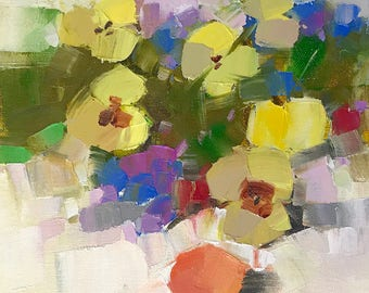 Pansies, Original oil painting, painting on canvas, handmade artwork, impressionism, One of a kind