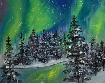 Snowy Northern Lights/Oil Painting