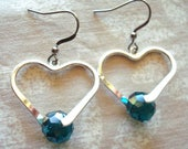 Silver heart earrings, Green and silver, hypo allergenic, hypo allergenic