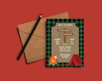 Camping Birthday Invitations- Digital File OR Printed Invites- Camping Party- Birthday Invites- Camping Invitations- Lumberjack Party Invite