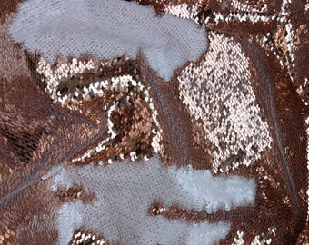 1 yard Rose Gold/White Flip Sequin Fabric,Reversible Sequin Fabric,Sequins on Satin Fabric Has no Stretch,2Tone Fip up Mermaid Sequin Fabric