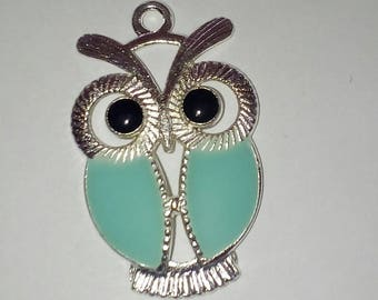 X 1 light turquoise OWL base silver plated 33mm