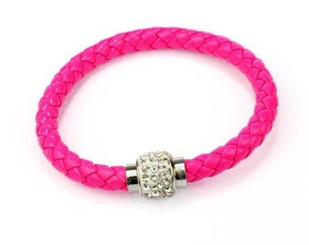 Faux leather braided bracelet pink neon rhinestone magnetic clasp
