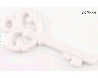 Large key white plastic 60mm