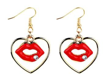 Golden Heart Kiss Earrings