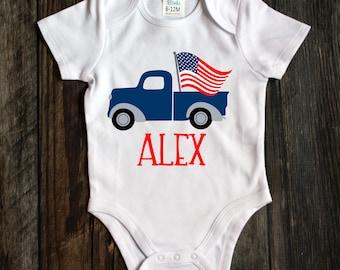 Truck bodysuit baby bodysuit. fourth of July Patriotic baby