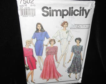 Misses Dress Simplicity 7502 Womens 6 8 10 Flared Dress Slim