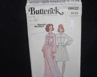 Butterick 6832 Misses Womens Size 10 Daniel Hechter  Designer front buttoned dress Vintage 70s