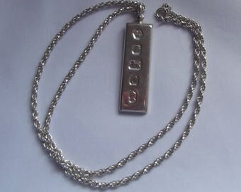1977 Silver Jubilee Sterling Silver Oblong Ingot and Thick Chain