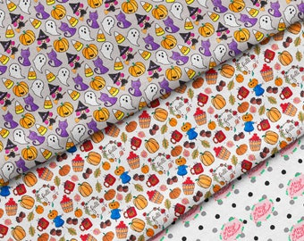HOLIDAY FABRIC- Fat Quarter Bundle of 3, Spoonflower, Basic Ultra Cotton, Eco Friendly Textiles, Christmas, Halloween, Fall, Hello Quirky