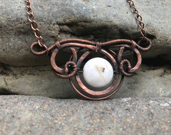 Wire Wrapped Hammered Copper Jasper Pendant