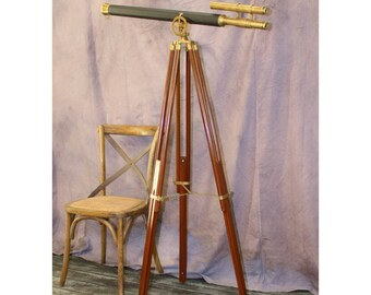 """Big Two Scope Telescope Adjustable Stand w Leather & Brass 63"""" Antique Replica"""