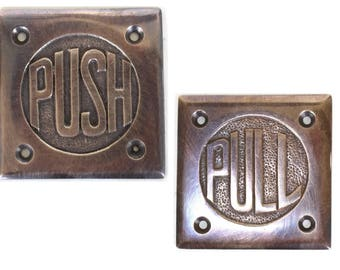 Solid Brass Small PUSH and PULL plates lettering for Commercial or Home Doors Bronze