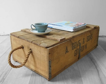 Rustic Rope Grove & Sons Crate Pine Wooden Box
