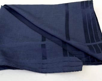 Vintage Mans Hanky,Dark Blue Hanky,Large Handkerchief,Blue Bandana,Blue Neckerchief,Good Quality Solid Colour Pocket Hanky,Something Blue