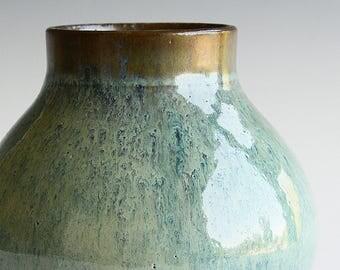 Vase with copper glaze hand thrown